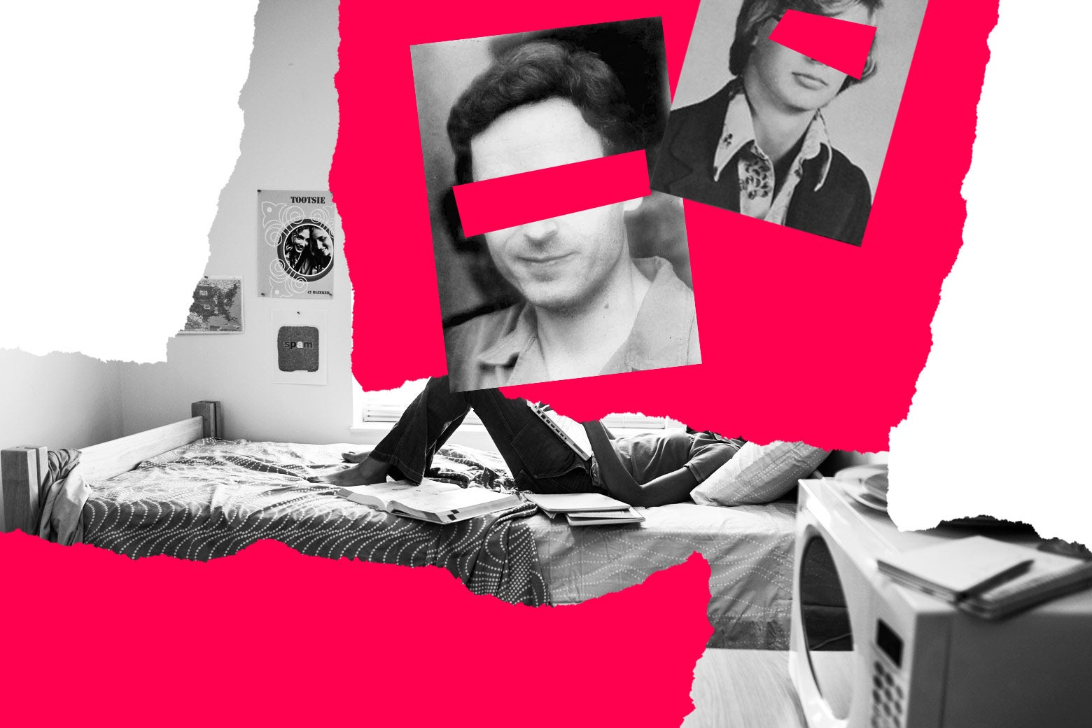 Photos of serial killers superimposed against a background depicting a woman lying in bed.