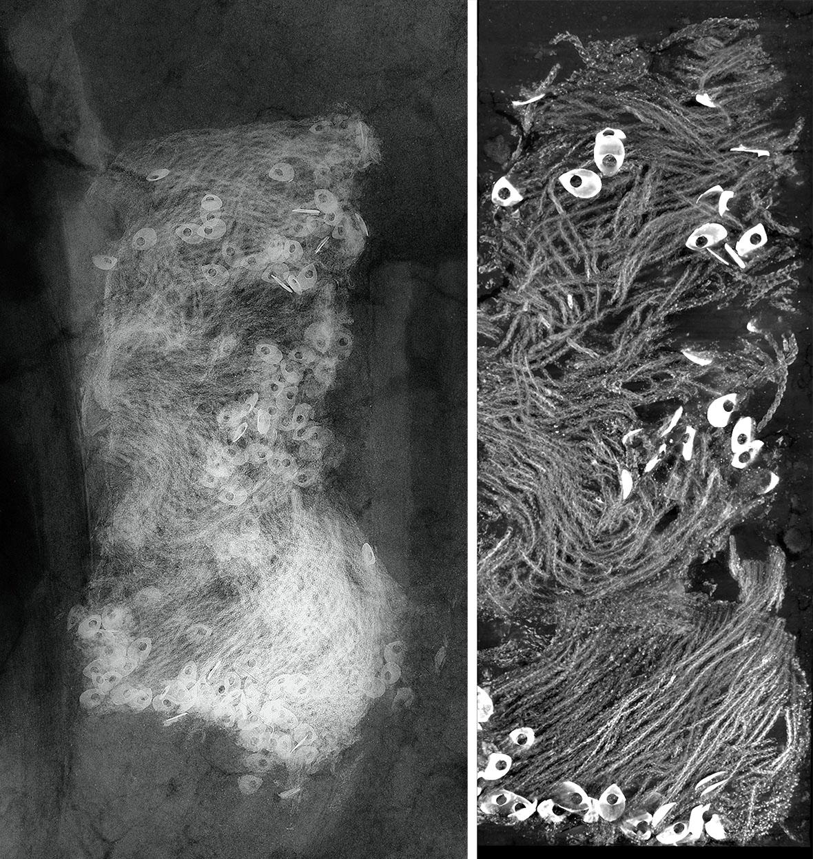 X-ray (left) and Micro CT imaging (right) of silver fringe found with William West.