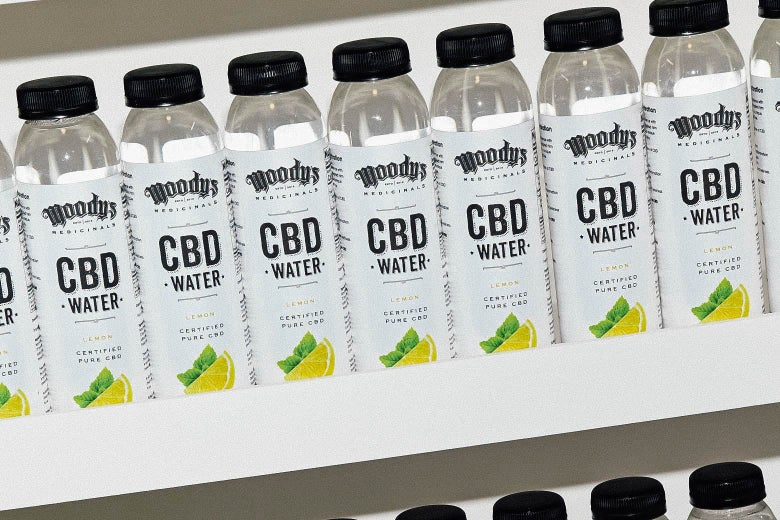 Bottles of Moody's Medicinals CBD water