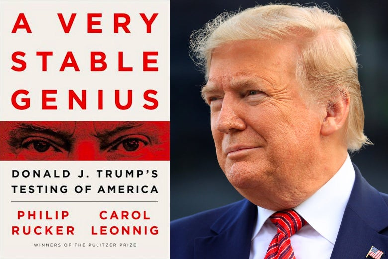 Cover of a book about Donald Trump alongside a photo of Trump.