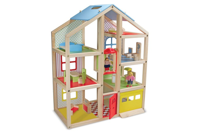 Melissa & Doug High-Rise Dollhouse With 15 Pieces Furniture