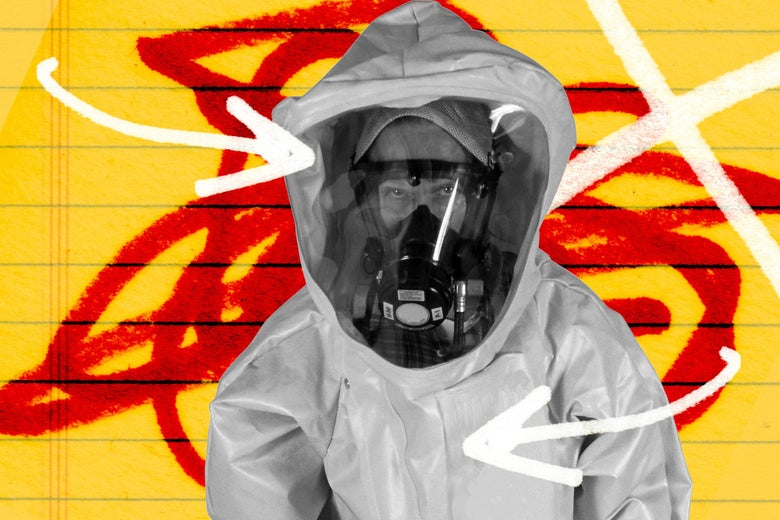 Photo illustration of a hazmat suit.