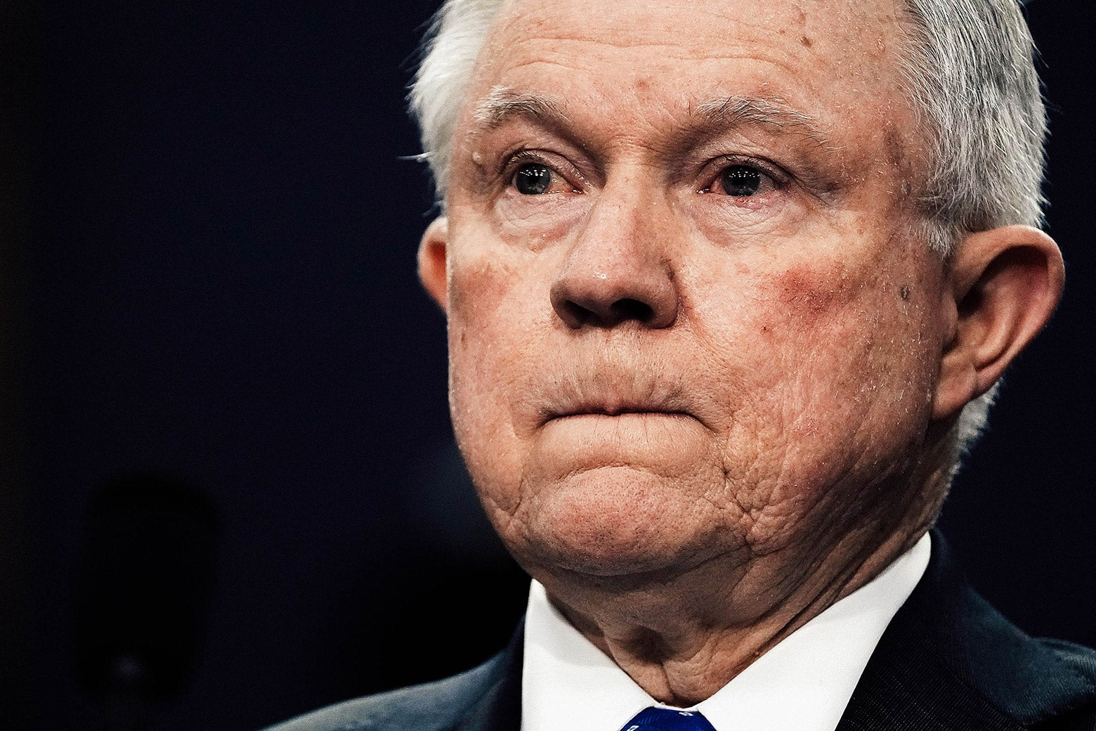 Jeff Sessions purses his lips.