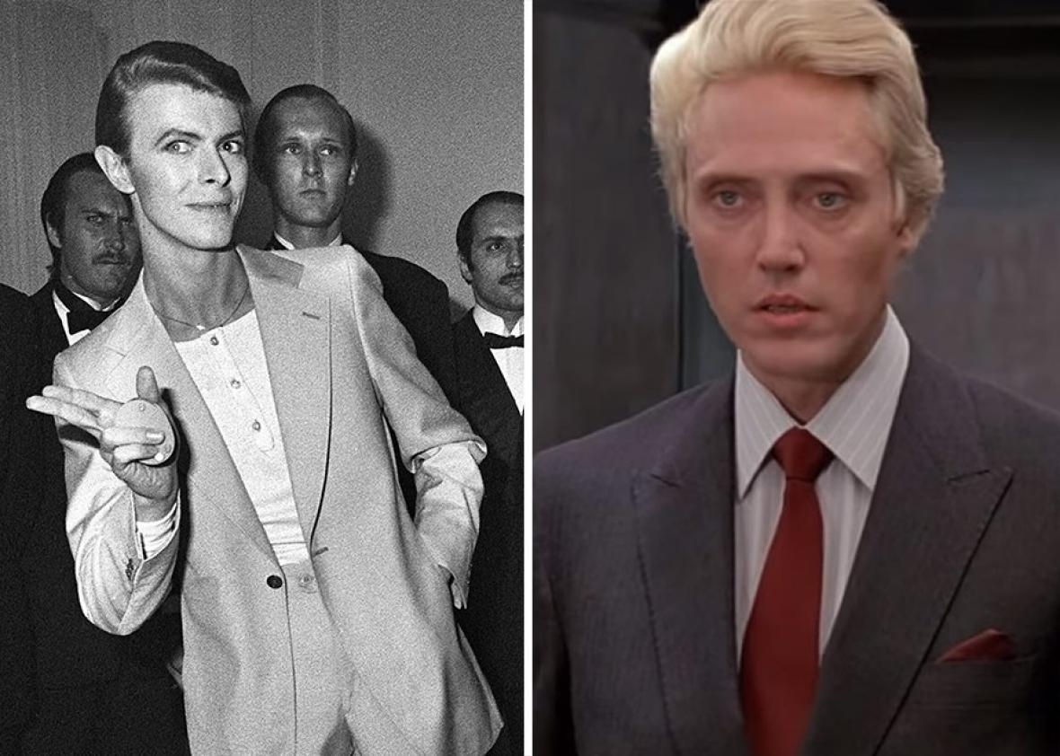 David Bowie (L) and Christopher Walken as Max Zorin in A View to Kill (R).
