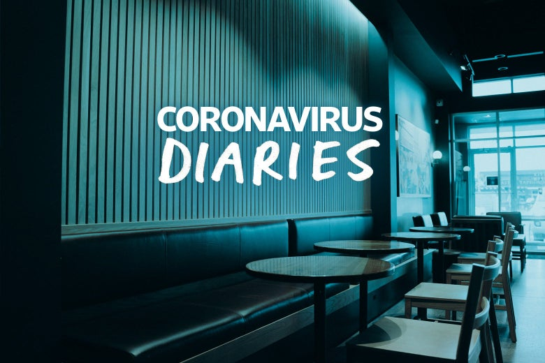 "The words ""Coronavirus Diaries"" are imposed over an empty restaurant, with tables and chairs and benches and walls shown."