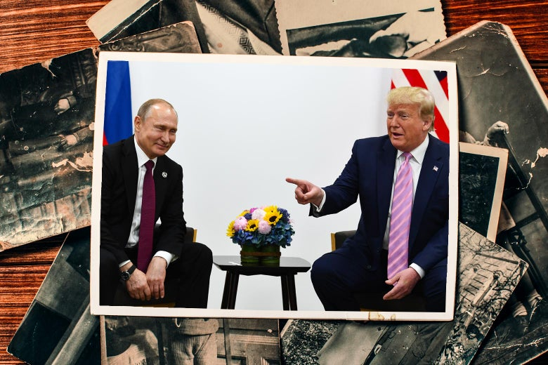 A photograph of Donald Trump meeting with Vladimir Putin on top of a pile of black-and-white photographs.