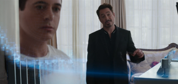 Tony Stark gives a hologram presentation in Captain America: Civil War.