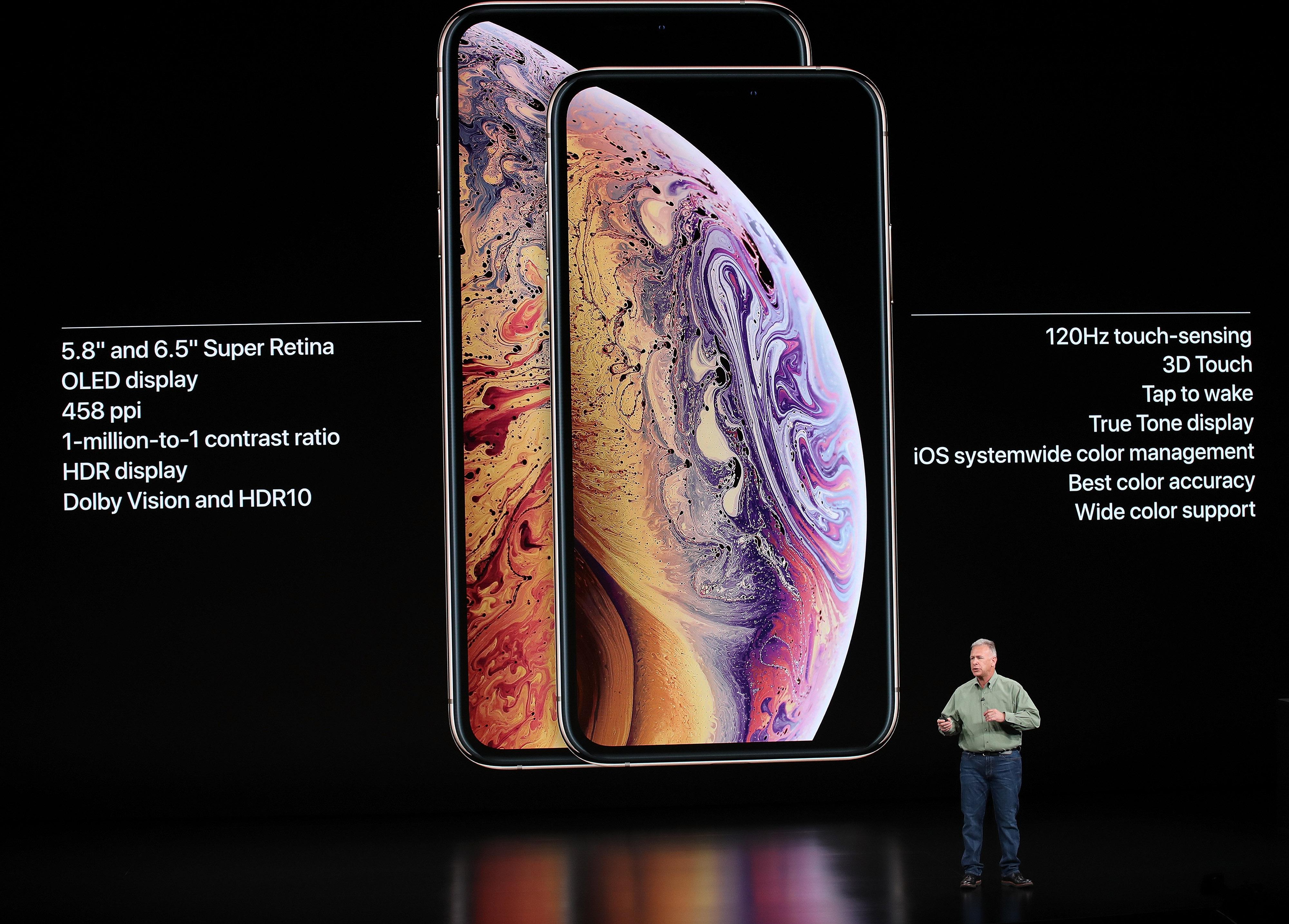 Phil Schiller, senior vice president of worldwide marketing at Apple Inc., introduces the new iPhone models.