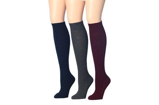 Three knee-high socks.