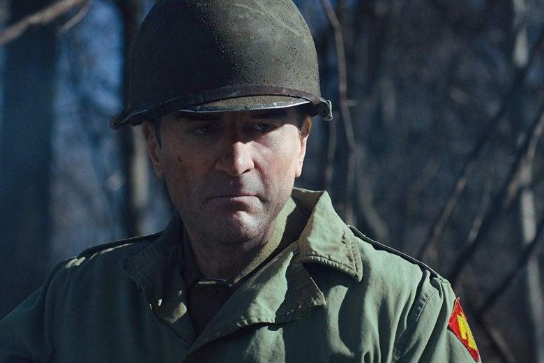 Digitally de-aged Robert De Niro in a soldier's uniform.