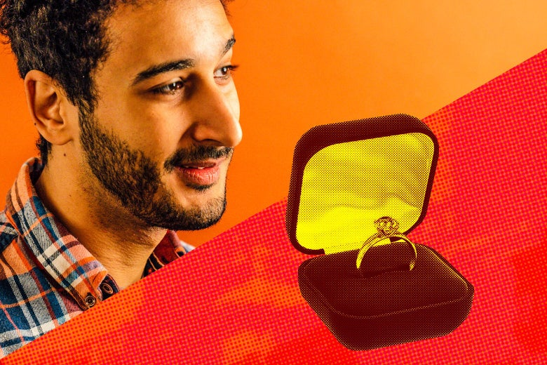Aymann Ismail and an engagement ring in a box.