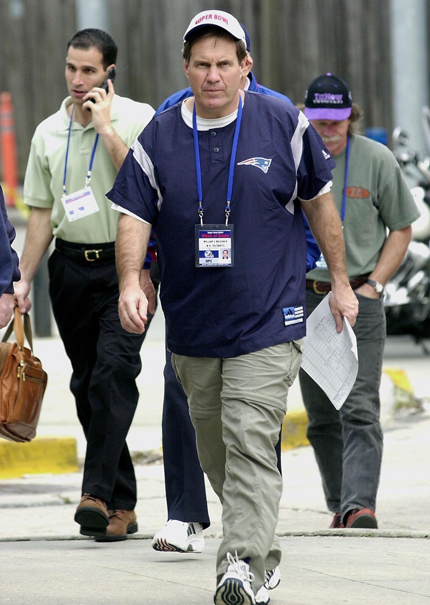 Bill Belichick arrives at Super Bowl XXXVI.