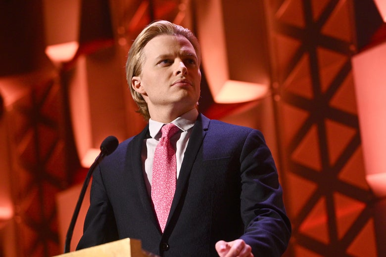 Ronan Farrow, in front of a podium from the torso up, speaks onstage at the Peabody Awards Ceremony Sponsored By Mercedes-Benz at Cipriani Wall Street on May 18 in New York.