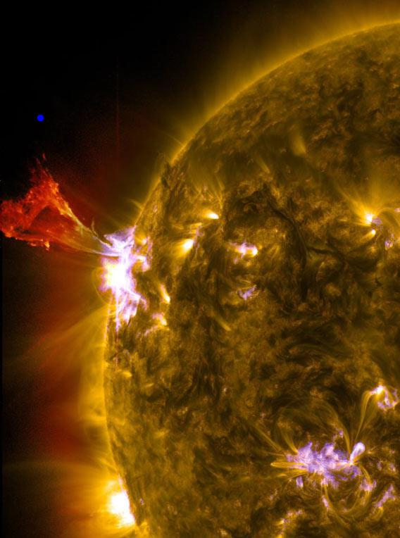 Solar flare and prominence on May 3, 2013