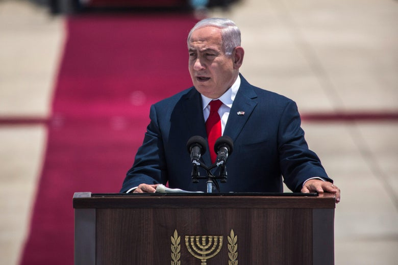 TEL AVIV, ISRAEL - MAY 22:   Israeli Prime Minister Benjamin Netanyahu gives a welcoming speach during an official welcoming ceremony on US Presidents Trump arrival at Ben Gurion International Airport on May 22, 2017 near Tel Aviv, Israel. This will be Trump's first visit as President to the region, and his itinerary will include meetings with the Palestinian and Israeli leaders. (Photo by Ilia Yefimovich/Getty Images)