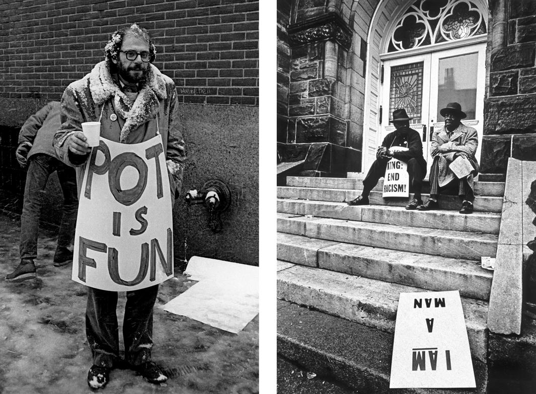 Left: Allen Ginsberg at the Women's House of Detention, New York, March 1964. Right: Poor People's Campaign, Washington, summer 1968.