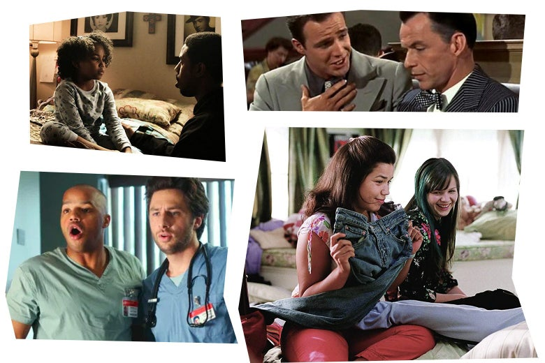 Stills from each of the movies in a mosaic art style: Michael B. Jordan kneels next to Ariana Neal who is sitting on a bed; Marlon Brando and Frank Sinatra; Zach Braff and Donald Faison look open-mouthed at something off camera; America Ferrara sits on a bed, holding up a pair of jeans, Amber Tamblyn sitting behind her.