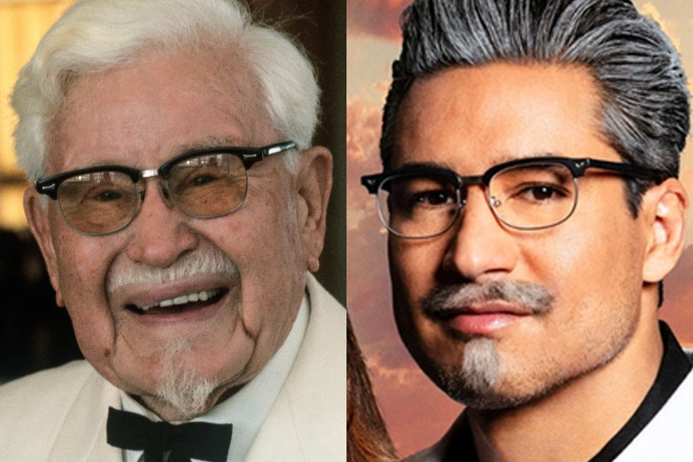 Side-by-side photos of Colonel Sanders, in his usual goateed glory, and Mario Lopez, portraying a dashing Colonel for Lifetime's upcoming movie.