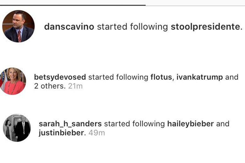 Dan Crenshaw, Betsy DeVos, and Sarah Huckabee Sanders follow David Portnoy, the Trump women, and Hailey and Justin Bieber, respectively.