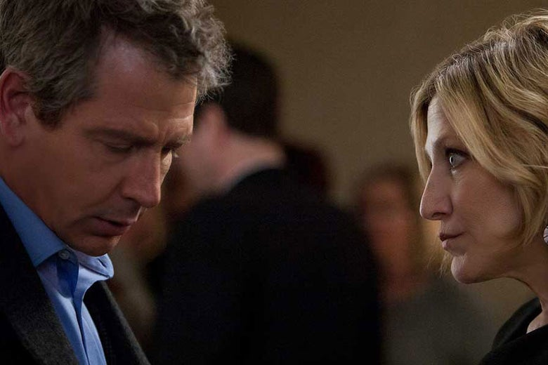 In a scene from The Land of Steady Habits, Helene, played by Edie Falco, glowers at Anders, played by Ben Mendelsohn.