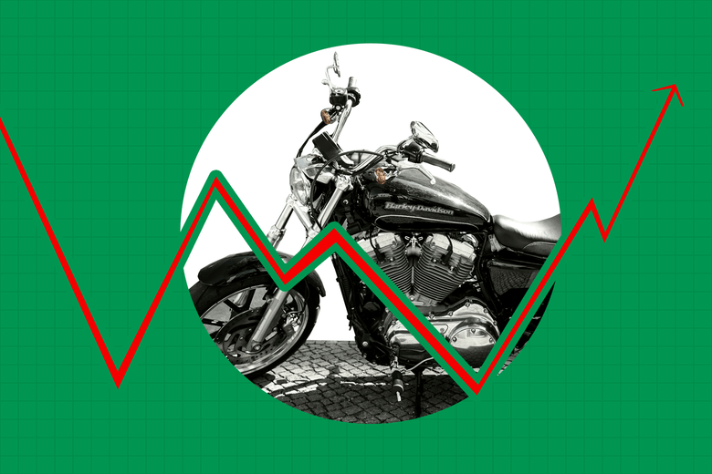 A Harley-Davison motorcycle is seen in the middle of a stocks chart.