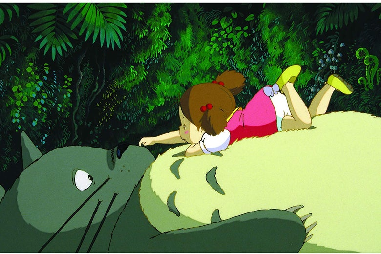 A small, red-haired girl lounges on the stomach of an enormous rotund creature that somewhat resembles a cat and an owl.