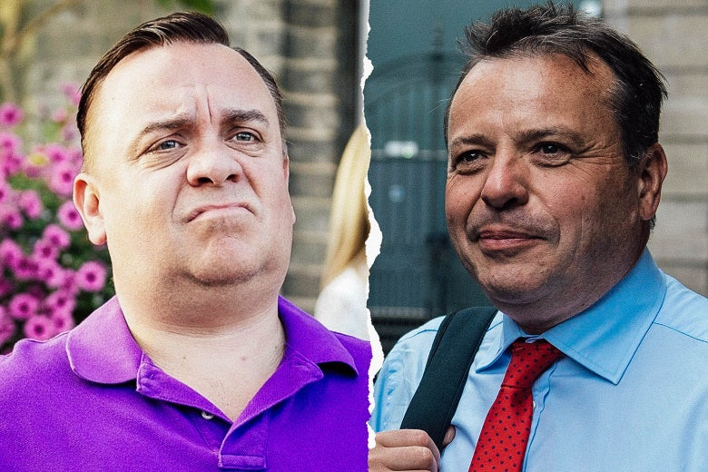 Lee Boardman as Arron Banks, and the real Arron Banks.