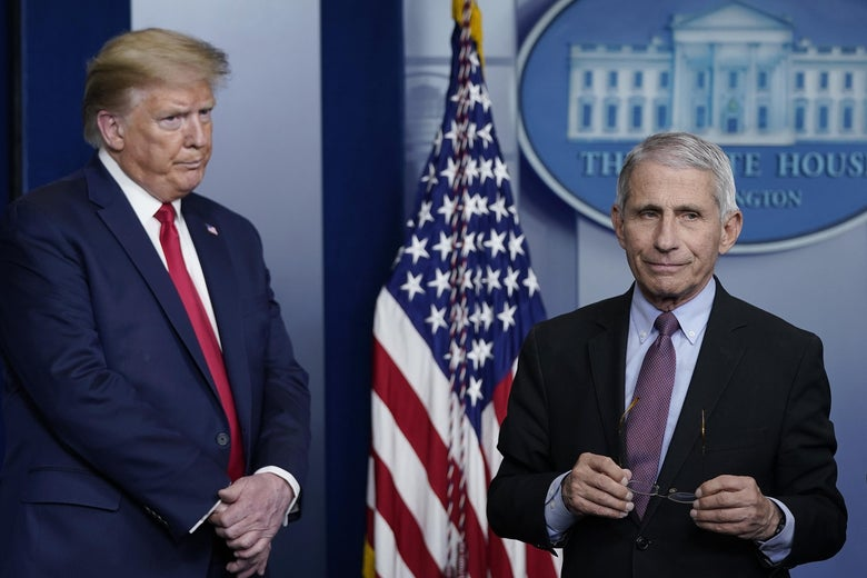 Donald Trump and Anthony Fauci stand in front of a U.S. flag and a White House seal.