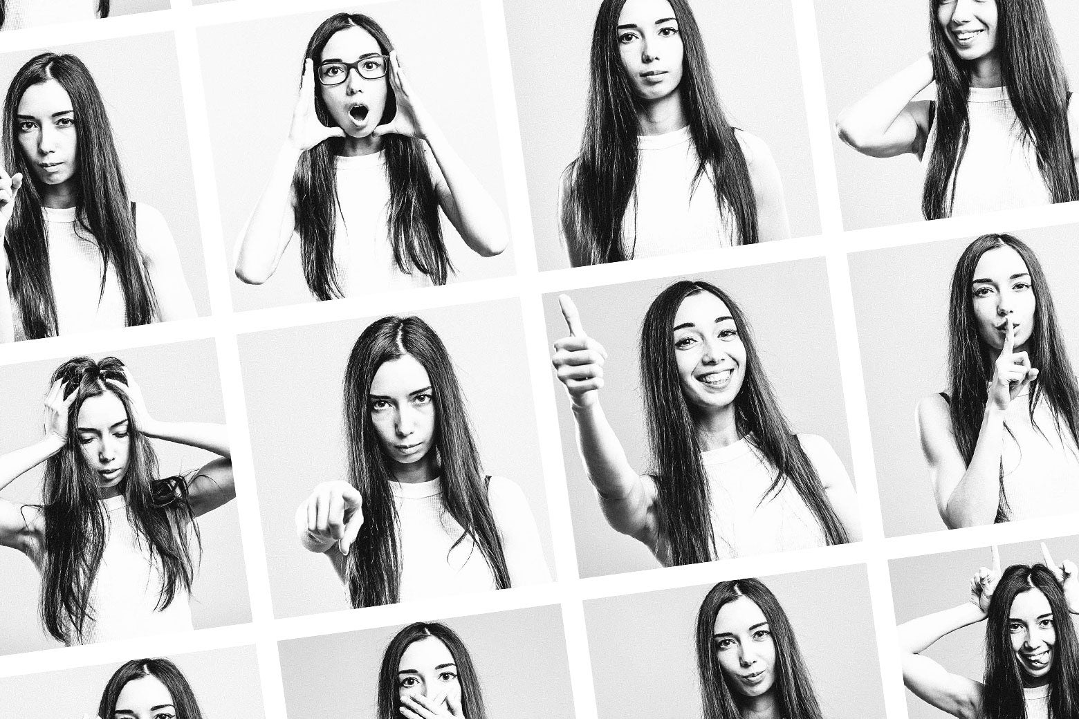 A teenage girl poses in various ways for yearbook photos.