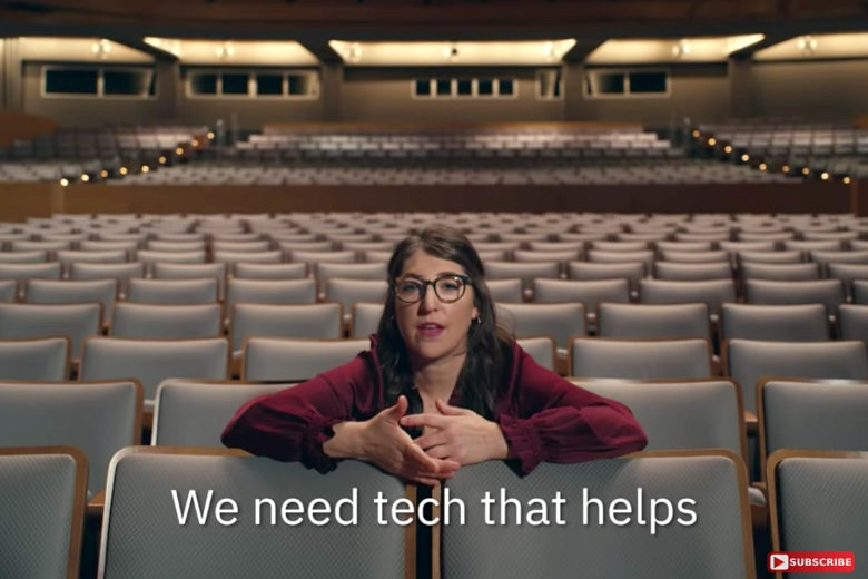 "Mayim Bialik in the ad, saying, ""We need tech that helps."""