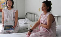 Pregnant women share a room in the obstetrics ward at the Peking University First Hospital in Beijing
