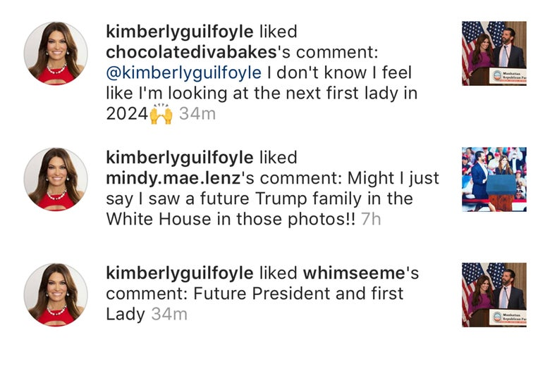 Kim Guilfoyle faves a series of comments referring to her as a future first lady.