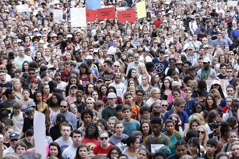 Activists and students from Marjory Stoneman Douglas High School advocate for gun control a rally at the Florida capitol Wednesday.