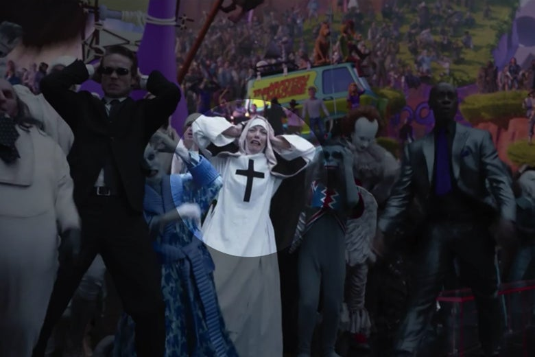 A shot of a cheering crowd from Space Jam: A New Legacy. One of the fans is dressed in a stylized nun's habit with a distinctive black cross on the breast.
