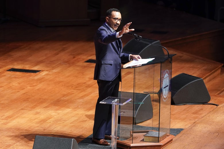 Former U.S. Rep. Kweisi Mfume (D-MD) speaks during funeral services for late Rep. Elijah Cummings at the New Psalmist Baptist Church October 25, 2019 in Baltimore, Maryland.