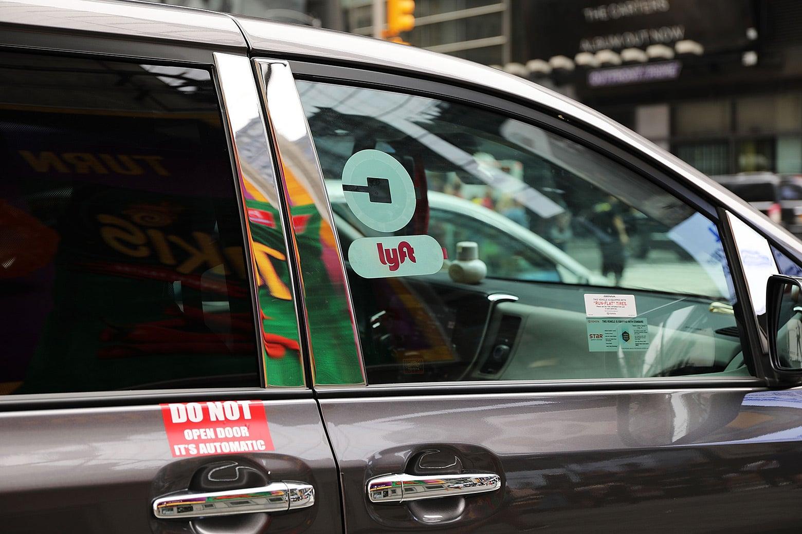 An Uber/Lyft ride-hailing vehicle in New York City.