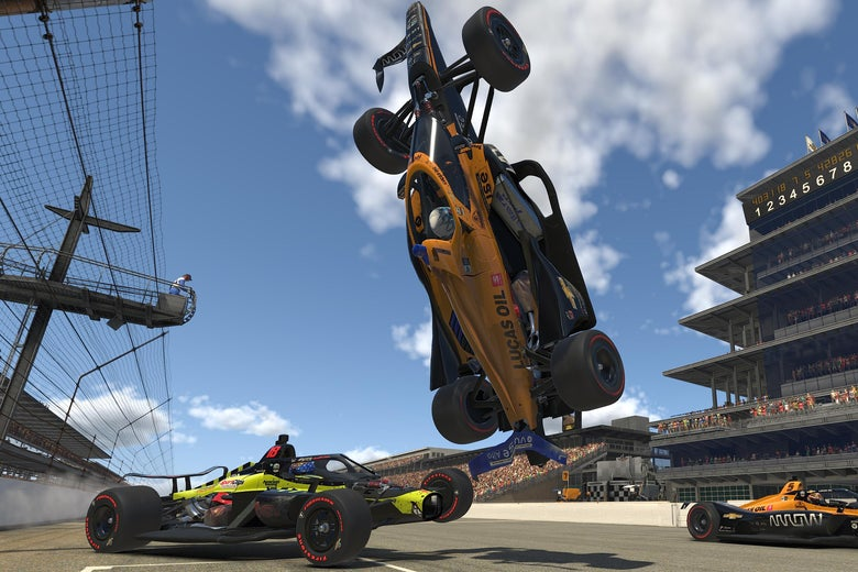 A virtual car spins and flips over another car on a racetrack.