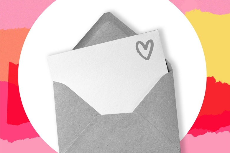 An envelope with a letter and heart on it.
