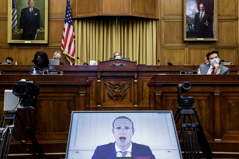 """TOPSHOT - Facebook CEO Mark Zuckerberg testifies before the House Judiciary Subcommittee on Antitrust, Commercial and Administrative Law on """"Online Platforms and Market Power"""" in the Rayburn House office Building on Capitol Hill in Washington, DC on July 29, 2020. (Photo by Graeme JENNINGS / POOL / AFP) (Photo by GRAEME JENNINGS/POOL/AFP via Getty Images)"""
