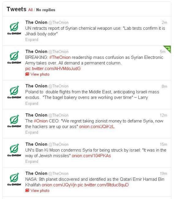 The Onion's Twitter feed suddenly developed an obsession with Syria on Monday afternoon.