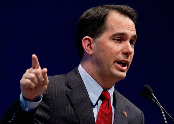 Wisconsin Governor Scott Walker speaks during the NRA's Celebration of American Values Leadership Forum.