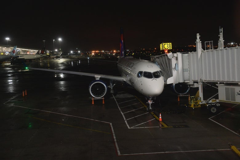A plane parked at LaGuardia Airport.
