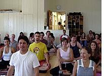 Meditating students
