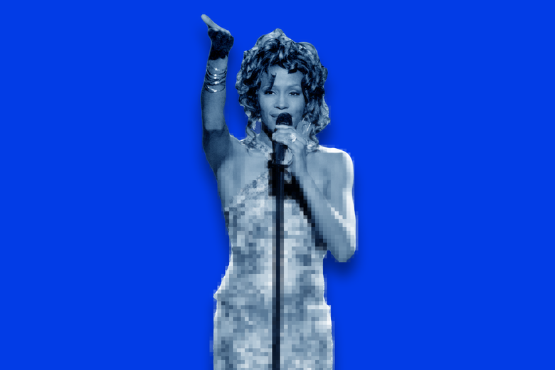 A depiction of Whitney Houston as a hologram.