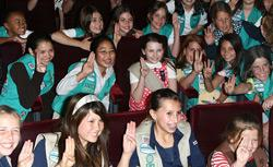 Actress Abigail Breslin, center, and members of The Girl Scouts of the USA. Click image to expand.
