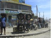 A street corner in La Saline, one of the Haitian slums ravaged by the          violence          Click on image to enlarge.