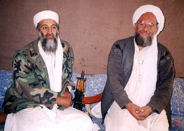Osama Bin Laden sits with adviser Ayman al-Zawahiri.