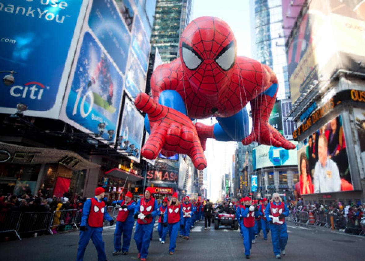 The Spiderman balloon makes its way through Times Square in Macy's Thanksgiving Day parade.