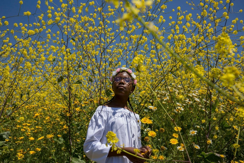A Black girl stands surrounded by wildflowers in a still from the movie.