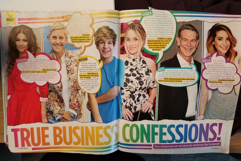 A spread from Teen Boss magazine that includes Zoella, Netflix's Reed Hastings, and others.